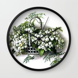 Vintage Lily of the Valley Flower Basket Wall Clock