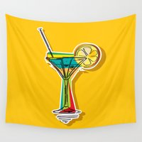 cocktail Wall Tapestries featuring Cocktail by Rceeh