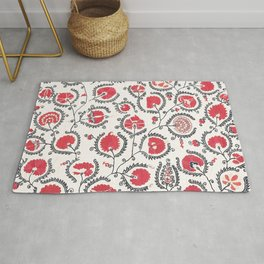 Wildflower II // 18th Century Positive Happy Colorful Red Green Botanical Garden Flowery Pattern Rug