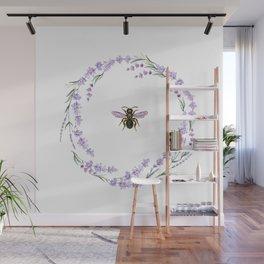 Lavender Bee Wall Mural
