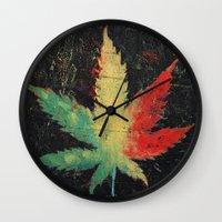marijuana Wall Clocks featuring Marijuana by Michael Creese