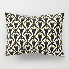 Black, White and Gold Classic Art Deco Fan Pattern Pillow Sham