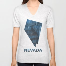 Nevada map outline Dark Gray Blue clouded watercolor pattern Unisex V-Neck