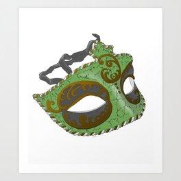 Venetian Mask - Green Art Print