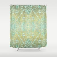 bedding Shower Curtains featuring Mint & Gold Effect Diamond Doodle Pattern by micklyn