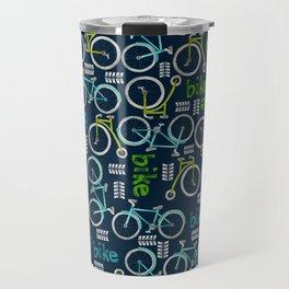 Watercolor Blue and Green Bike Travel Mug