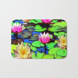 PINK & YELLOW WATER LILIES POND Bath Mat
