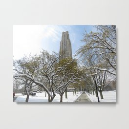 Pittsburgh Cathedral of Learning in the winter 25 Metal Print