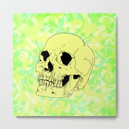 Lime Skull Pattern Metal Print