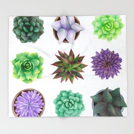 Succulent Friends Throw Blanket