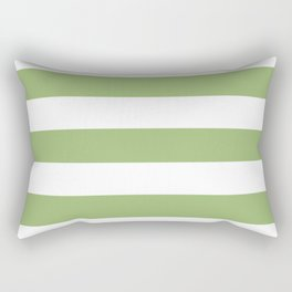 Olivine -  solid color - white stripes pattern Rectangular Pillow