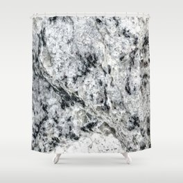 Dripping Granite // Gray Black and White Speckled Rivers of Rocky Earth Texture Shower Curtain