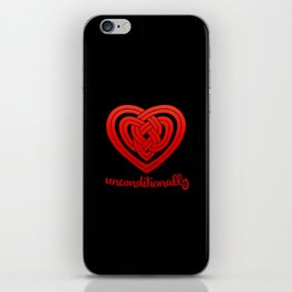 UNCONDITIONALLY in red on black iPhone Skin