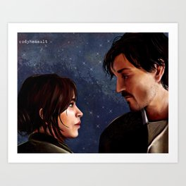 Jyn and Cassian - Rogue One - Rebel Captain painting Art Print