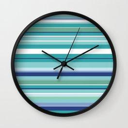 Tropical Blue Stripe|Banana Leaf Coordinate|Renee Davis Wall Clock