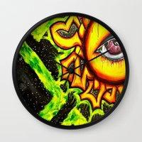 psychadelic Wall Clocks featuring Psychadelic sun by Annabomb