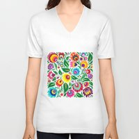 folk V-neck T-shirts featuring folk grassland by bachullus