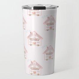 Cute little house cross stitch - light pink Travel Mug