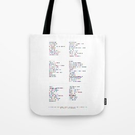 Faithless Colour Discography - Music in Colour Code Tote Bag