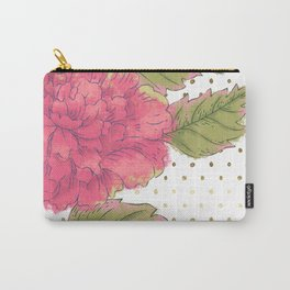 Big Bloom Pink Flower with Gold Polka Dots Carry-All Pouch