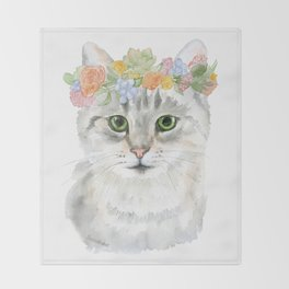Gray Tabby Cat Floral Wreath Watercolor Throw Blanket