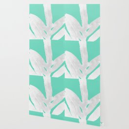 Green Fern on Ice Mint Green Inverted Silver Wallpaper