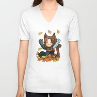 bucky V-neck T-shirts featuring fall - bucky by noCek