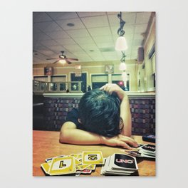 Disbelief of First Uno Win Canvas Print