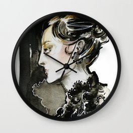 Black and white fashion illustration Wall Clock