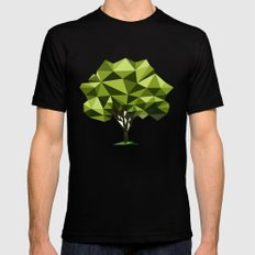 Poly geometric trees Black Mens Fitted Tee MEDIUM