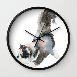 Watercolor Cat Painting Wall Clock