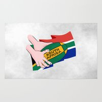 rugby Area & Throw Rugs featuring South Africa Rugby by mailboxdisco