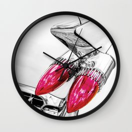 Cadillac Tail Fins, Mid Century Car Art by Murray Bolesta Wall Clock