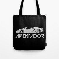 lamborghini Tote Bags featuring Lamborghini Aventador - silver - by Vehicle