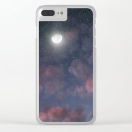 Glowing Moon on the night sky through pink clouds Clear iPhone Case