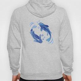 Koi Fish Dance / blue watercolor Hoody