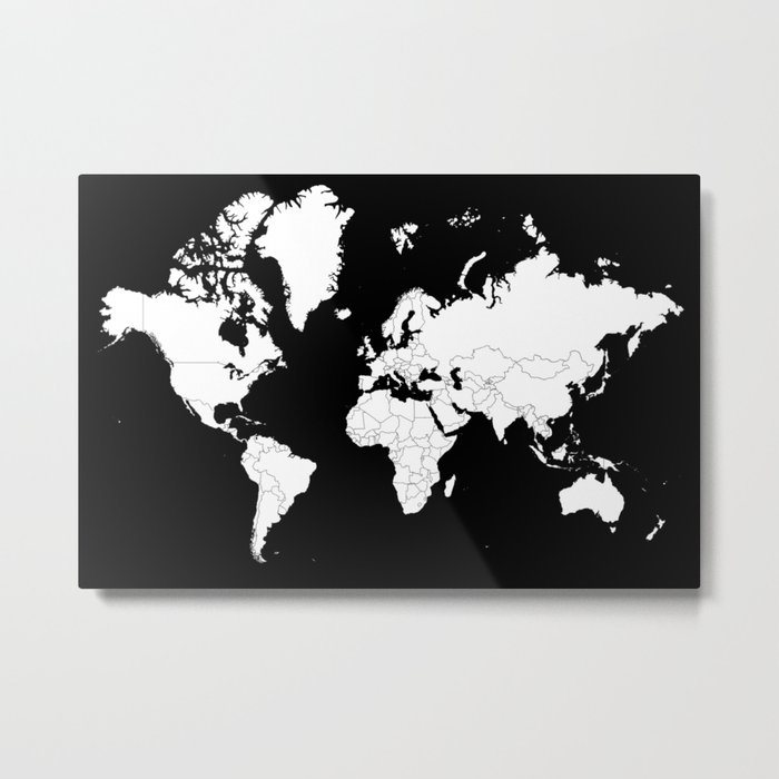 minimalist world map white on black background metal print
