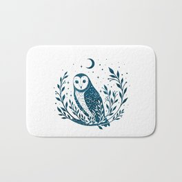 Owl Moon - Blue Bath Mat