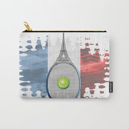 Racquet Eiffel Tower with French flag colors in background Carry-All Pouch