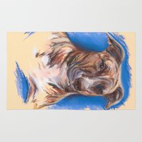 pit bull Area & Throw Rugs featuring Brindle Pit Bull Portrait by M.M. Anderson Designs