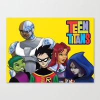 teen titans Canvas Prints featuring Teen Titans by Paige Thulin