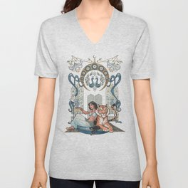 Every Girl Is A Princess 03: Arabian Nights Art Nouveau Aladdin's Princess Jasmine and Rajah Unisex V-Neck
