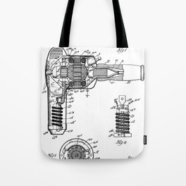 Hair Drier Patent - Salon Art - Black And White Tote Bag