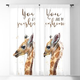 You Are My Sunshine Giraffe Nursery Animals Watercolor Art Blackout Curtain