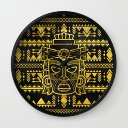 Gold  Aztec Inca Mayan Mask Wall Clock