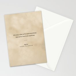 Chuck Palahniuk Quote 02 - Typewriter Quote on Old Paper - Minimalist Literary Print Stationery Cards