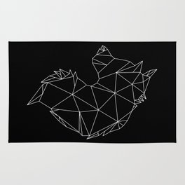 Geometric Wolf (White on Black) Rug
