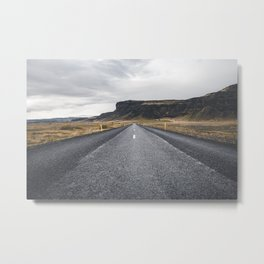 Icelandic Road to Mountains, Landscape Wilderness Adventure Highway Metal Print