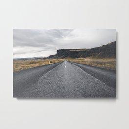 Icelandic Road to Mountains, Landscape Wilderness Adventure Highway Metal Print