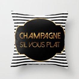 Champagne S'il Vous Plait Throw Pillow